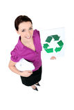 Businesswoman holding a recycling label Royalty Free Stock Image
