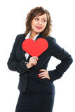 Businesswoman holding red paper heart Stock Photos