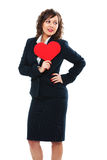 Businesswoman holding red paper heart Royalty Free Stock Photo
