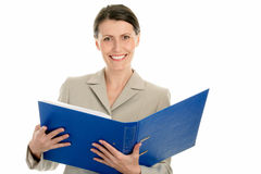Businesswoman holding ring binder Royalty Free Stock Images