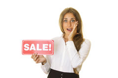 Businesswoman holding sale card Stock Images