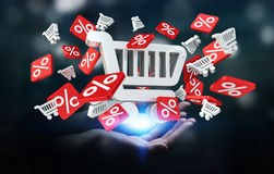 Businesswoman holding sales icons in her hand 3D rendering. Businesswoman on blurred background holding sales icons in her hand 3D rendering Royalty Free Stock Images