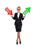 Businesswoman holding sell or buy Royalty Free Stock Photos