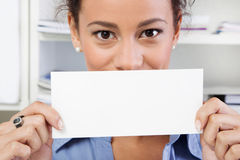 Businesswoman holding sign board. Attractive businesswoman holding sign board Stock Photo