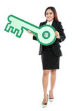 Businesswoman holding sign of key Stock Photos