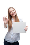 Businesswoman holding sign Royalty Free Stock Photo