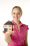 Businesswoman Holding Small House Stock Image