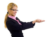 Businesswoman holding something Stock Images