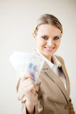Businesswoman holding south african cash Royalty Free Stock Photo