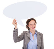 Businesswoman Holding Speech Bubble Royalty Free Stock Image
