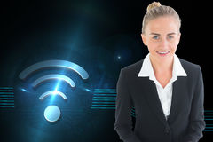 Businesswoman holding tablet Royalty Free Stock Photos