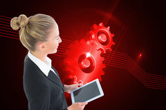Businesswoman holding tablet Royalty Free Stock Image