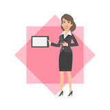 Businesswoman holding tablet and smiling Stock Image