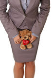 Businesswoman holding teddy bear love concept Royalty Free Stock Images