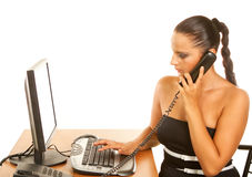 Businesswoman holding a telephone Royalty Free Stock Photography
