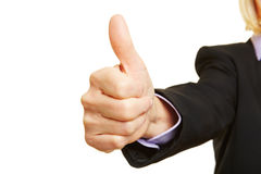 Businesswoman holding thumb up royalty free stock photos