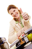 Businesswoman holding thumbs up Royalty Free Stock Photography