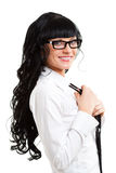 Businesswoman holding tie royalty free stock photography