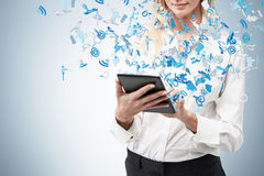 Businesswoman holding  touch pad. Close up Royalty Free Stock Photos