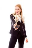 Businesswoman holding a trophy Royalty Free Stock Photos