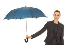 Businesswoman holding an umbrella. Royalty Free Stock Photos