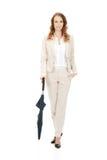 Businesswoman holding an umbrella. Royalty Free Stock Photo