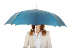 Businesswoman holding an umbrella. Royalty Free Stock Photography
