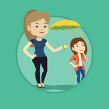 Businesswoman holding umbrella over woman. Stock Photography