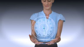 Businesswoman holding virtual alarm clock stock illustration