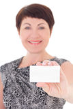Businesswoman holding visiting card Stock Photography