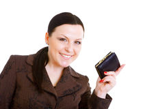 Businesswoman holding wallet over white Royalty Free Stock Photo