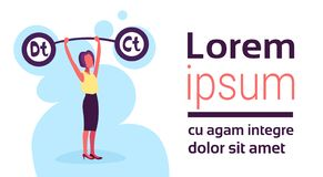 Businesswoman holding weights balance scales debit credit sign debt loan crisis concept positive negative female. Accountant cartoon character flat horizontal stock illustration