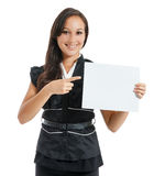 Businesswoman holding white blank empty billboard sign with copy Stock Images