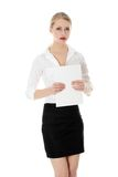 A businesswoman holding white board Royalty Free Stock Photography