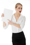 A businesswoman holding white board Royalty Free Stock Photo