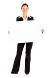 Businesswoman holding white board Royalty Free Stock Image