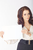 Businesswoman holding a white board Royalty Free Stock Photos