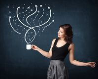 Businesswoman holding a white cup with lines and arrows Stock Photography