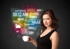 Businesswoman holding a white cup with daily news and informatio Royalty Free Stock Image
