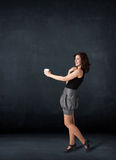 Businesswoman holding a white cup Royalty Free Stock Images