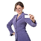 Businesswoman holding a white empty card Royalty Free Stock Photography