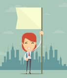Businesswoman holding white flag. Place for text Stock Photography