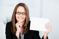 Businesswoman Holding White Paper Royalty Free Stock Photos