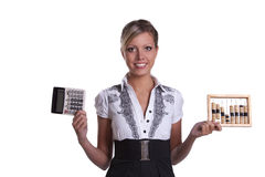 Businesswoman holding woodenabacus and calculator. Stock Images