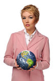 Businesswoman holding the world Stock Image