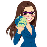 Businesswoman Holding World Stock Photo