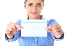 Businesswoman holds blank card, isolated on white Royalty Free Stock Photo