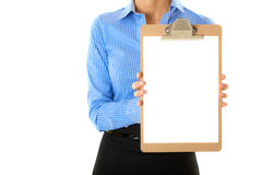 Businesswoman holds clipboard A4 white card Stock Photos