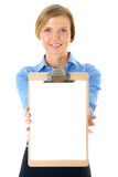 Businesswoman holds clipboard with A4 white card Royalty Free Stock Photography