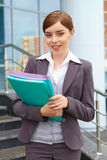 Businesswoman  holds documents. Royalty Free Stock Images